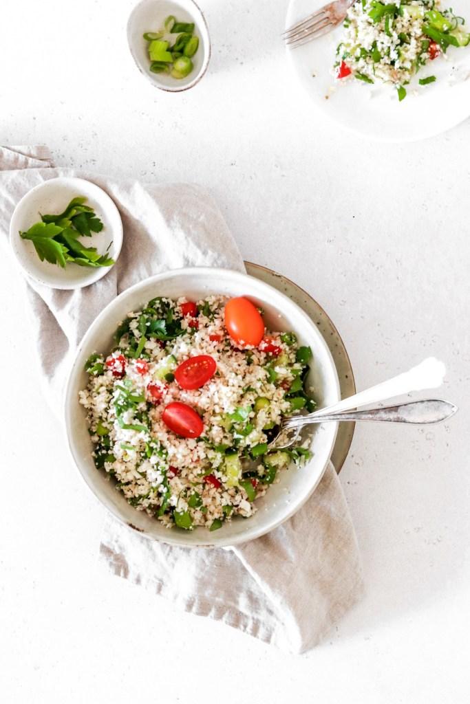 Cauliflower Tabbouleh (Vegan, Gluten, Grain Free & Low Carb) From Above