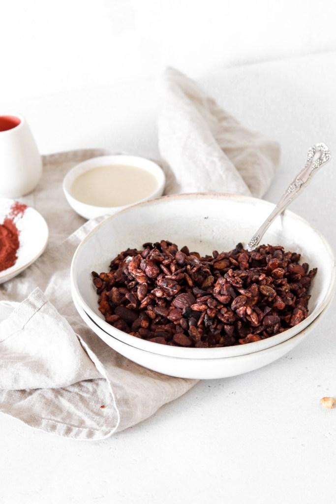 Grain Free Chocolate Tahini Granola (Vegan, Gluten, Grain, Sugar, Oil Free & Low Carb) From Front