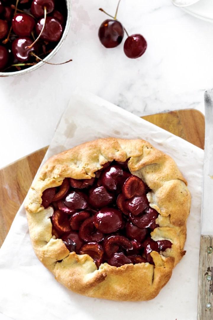 Cherry Galette (Vegan, Gluten, Sugar, Oil Free, Sweetened with Apple Sauce)