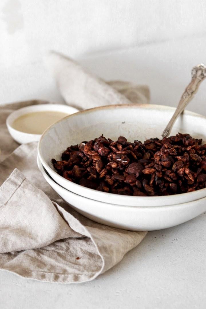 Grain Free Chocolate Tahini Granola (Vegan, Sugar & Oil Free)