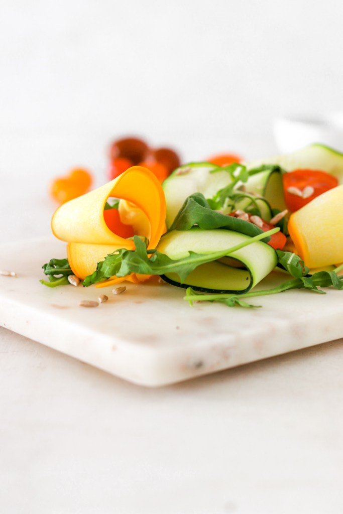 Zucchini Carpaccio (Vegan, Gluten, Grain Free & Low Carb) Close Up