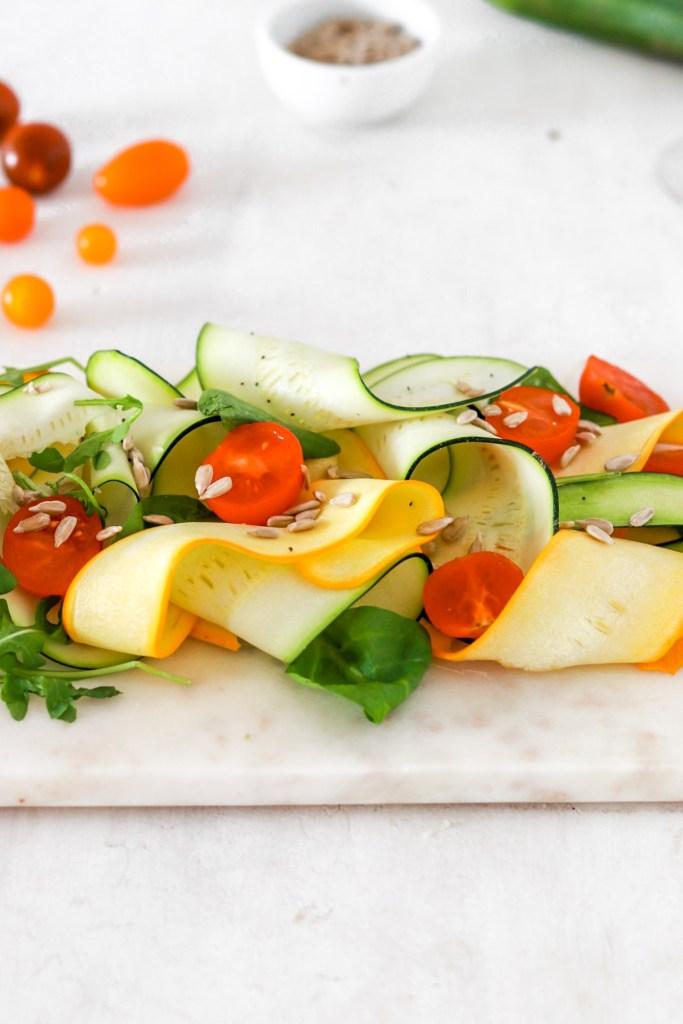 Zucchini Carpaccio (Vegan, Gluten, Grain Free & Low Carb) From Front