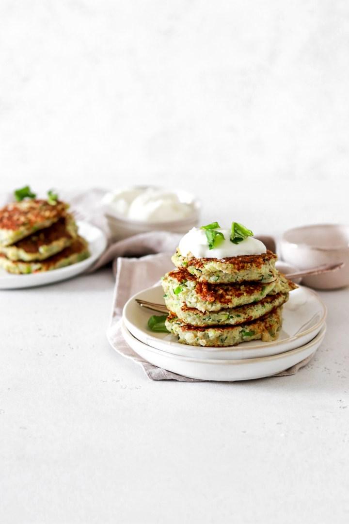 Zucchini & Cauliflower Fritters (Vegan, Paleo Friendly, Gluten & Oil Free)