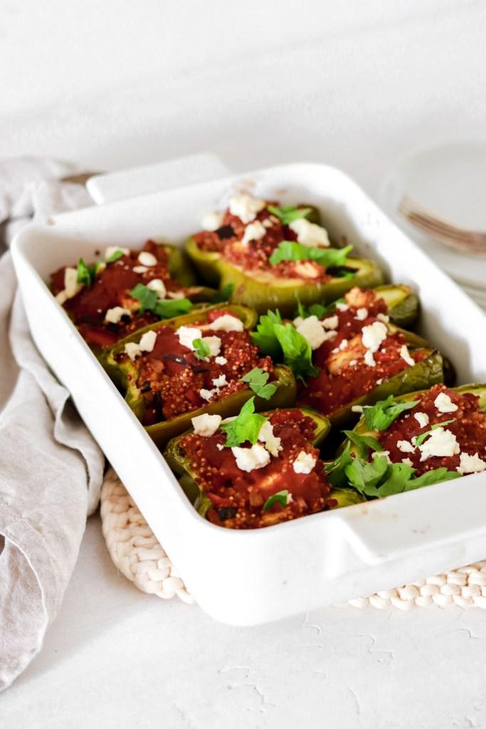 Quinoa Stuffed Bell Peppers In a Baking Pan