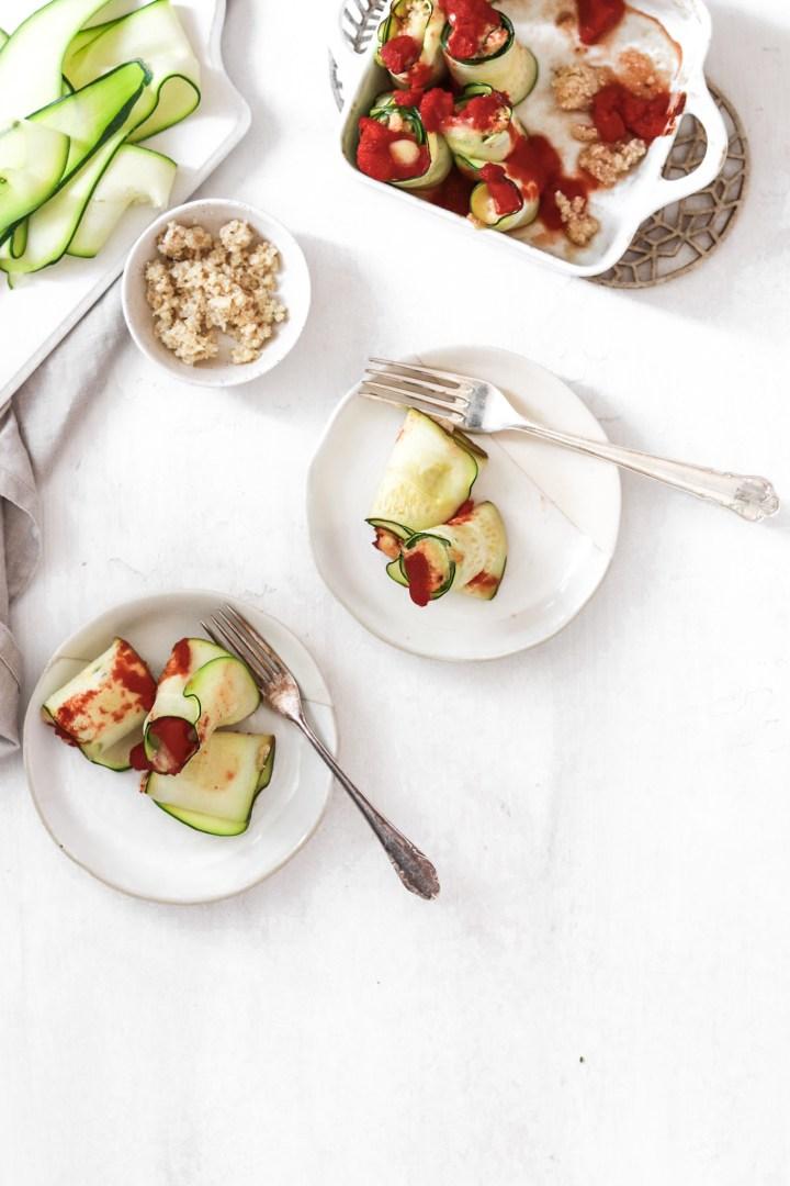 Vegan Zucchini Ricotta Rolls (Gluten, Dairy, Grain Free, Low Carb)