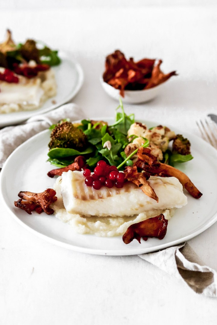 Baked Cod with Chanterelles & Lingonberries