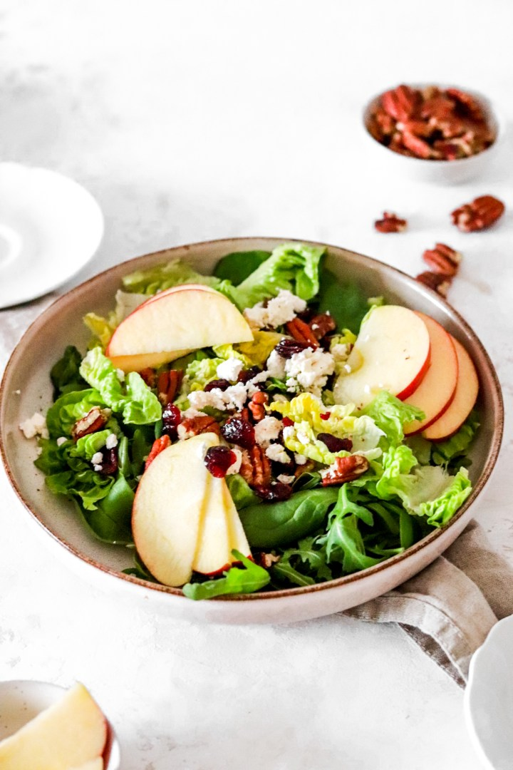 Easy Winter Salad with Apple & Cranberries (Gluten Free)