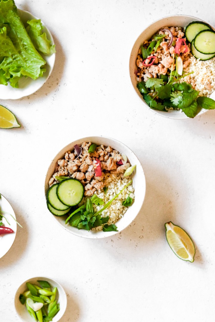 Healthy Chicken Larb with Cauliflower Rice (Gluten, Grain Free & Low Carb)