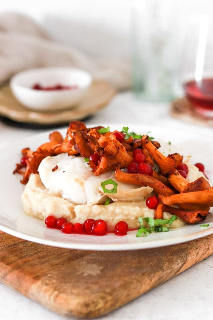 Baked Cod with Chanterelles & Lingonberries (Gluten, Grain Free & Low Carb) From Front Close Up