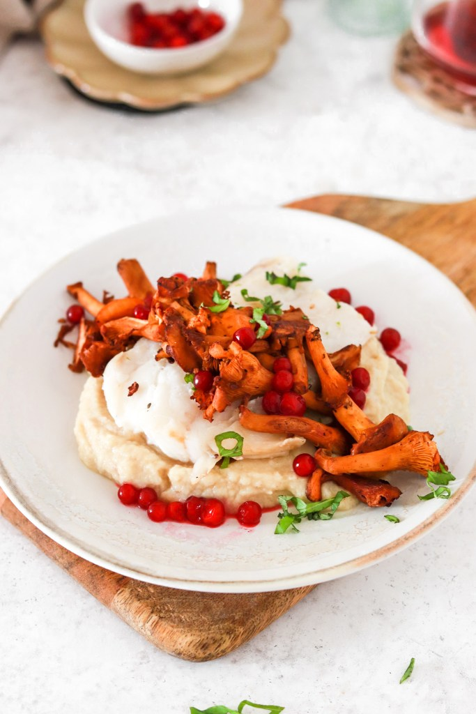 Baked Cod with Chanterelles & Lingonberries (Gluten, Grain Free & Low Carb) From Front