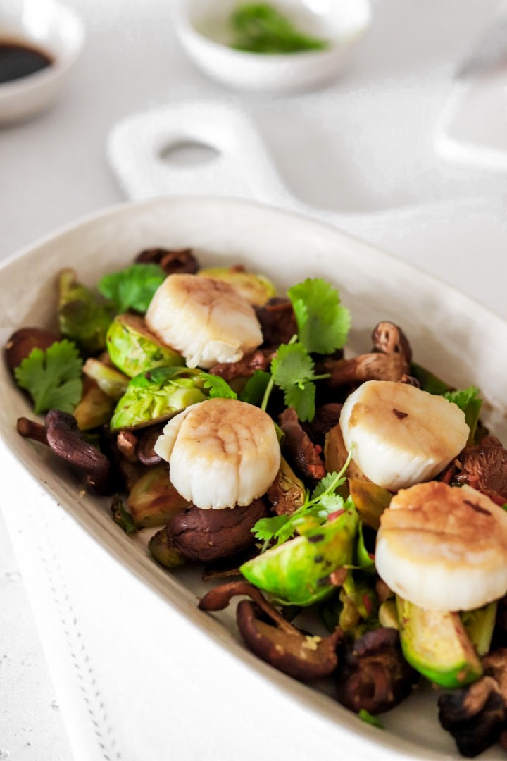 Spicy Scallops with Brussel Sprouts & Shiitake