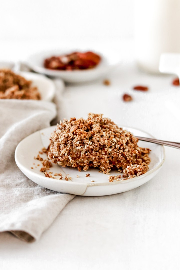 Baked Spiced Oatmeal with Pecan & Sunflower Crumble (Vegan, Gluten & Sugar Free)
