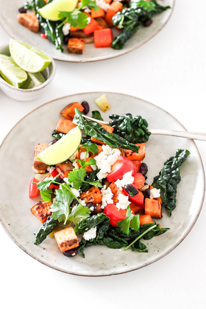 Easy Sweet Potato Hash with Black Kale, Beans & Bell Pepper (Vegetarian)