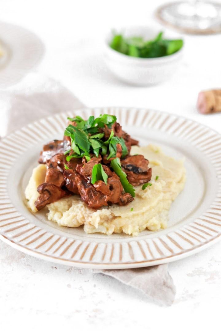 Mushroom Stroganoff (Vegan, Gluten, Grain Free & Low Carb) From Front Close Up