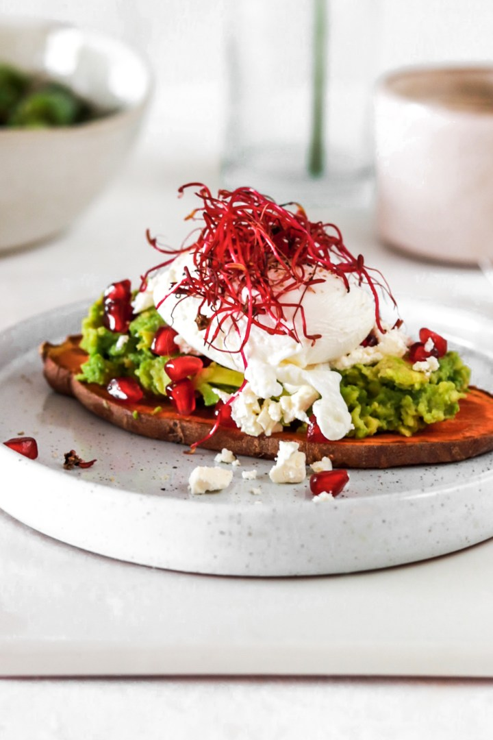 Sweet Potato Toast with Avocado & Poached Egg (Gluten & Grain Free)