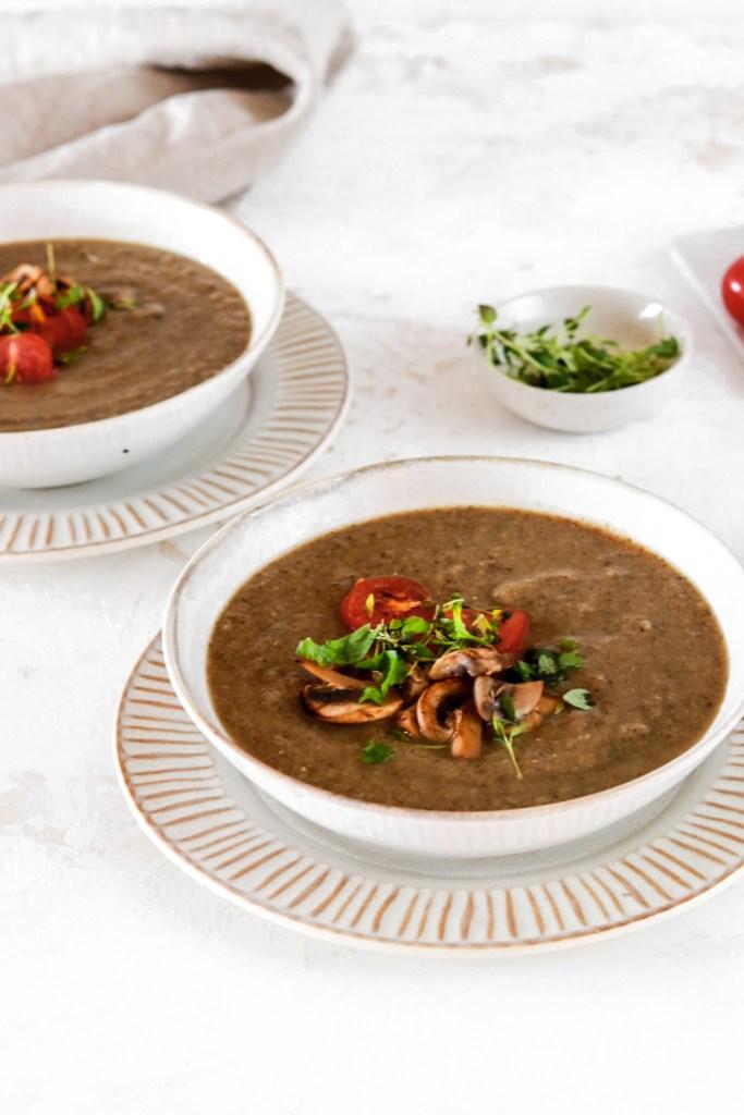 Roasted Cauliflower & Mushroom Soup (Vegan, Paleo & Gluten Free) From Front