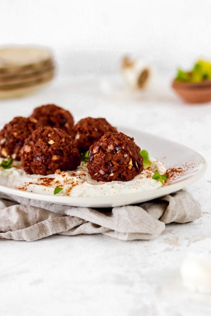 Spicy Meatballs with Herb Yogurt Sauce (Vegan & Gluten Free) From Front