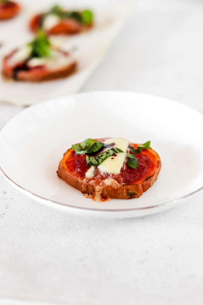 Sweet Potato Mini Pizza Bites On a Plate