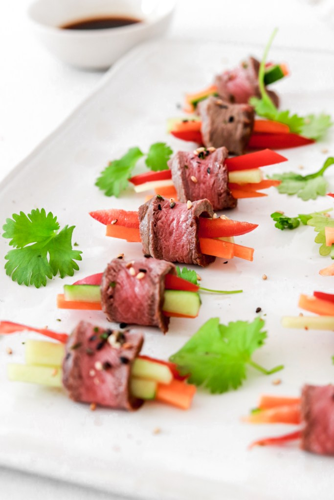 Beef Tataki Appetizer Rolls (Low Carb) From Front