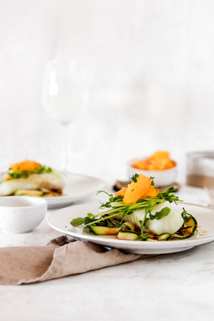 Low Carb Cod with Orange Dressing (Gluten, Grain, Dairy Free & Low Carb) From Front