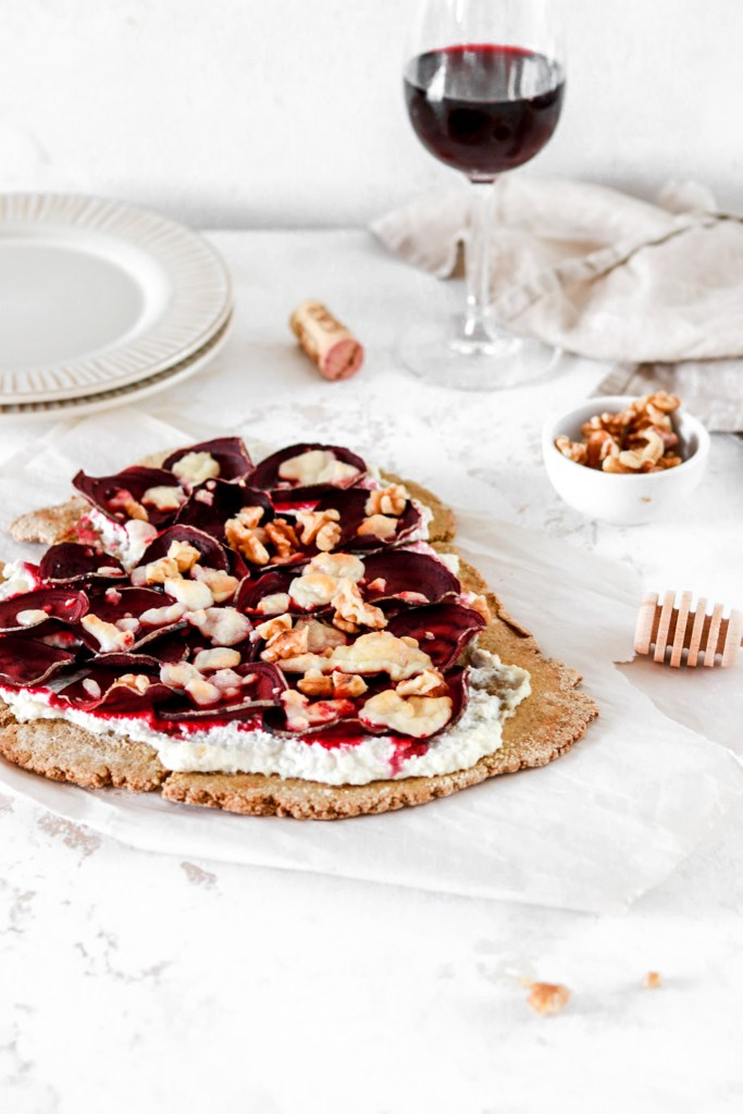 Ricotta, Beetroot & Goat Cheese Flatbread Pizza (Gluten Free) From Front