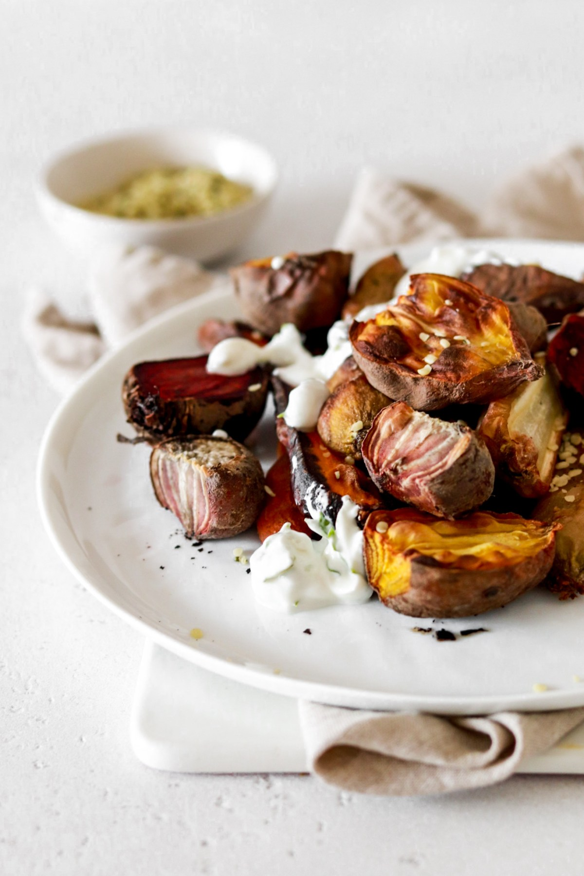 ROASTED BEETS & CARROTS (VEGAN & GLUTEN FREE) From Front Close Up