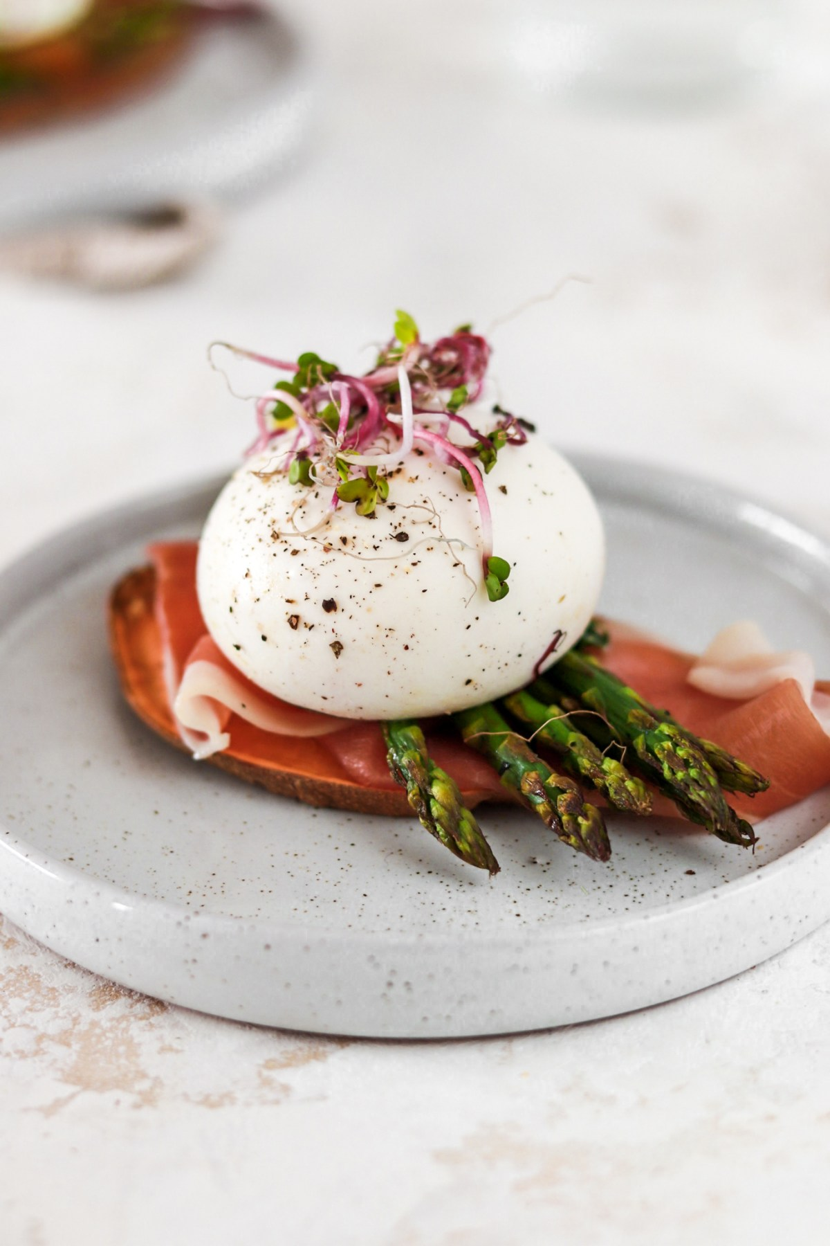 Sweet Potato Toast with Prosciutto, Asparagus & Burrata (Gluten & Grain Free) On Plate from Close Up