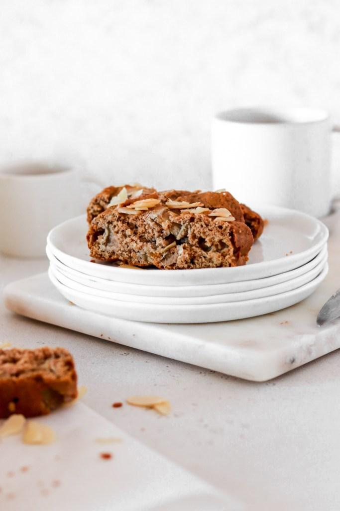 Rhubarb & Cardamom Cake (Gluten, Sugar & Oil Free) Sliced on Plates