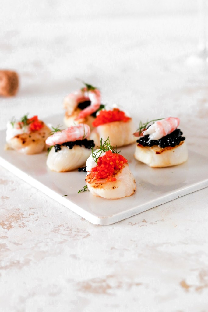 Scallop Bites with Caviar & Shrimps (Gluten, Grain Free & Low Carb) From Front on a Plate