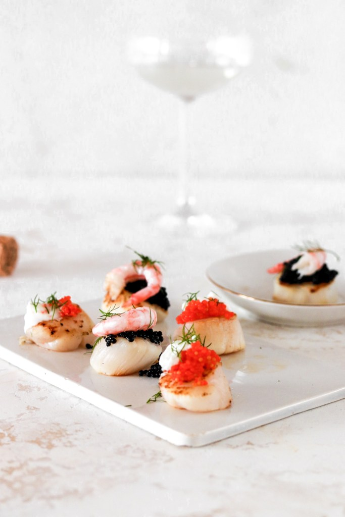 Scallop Bites with Caviar & Shrimps (Gluten, Grain Free & Low Carb) From Front