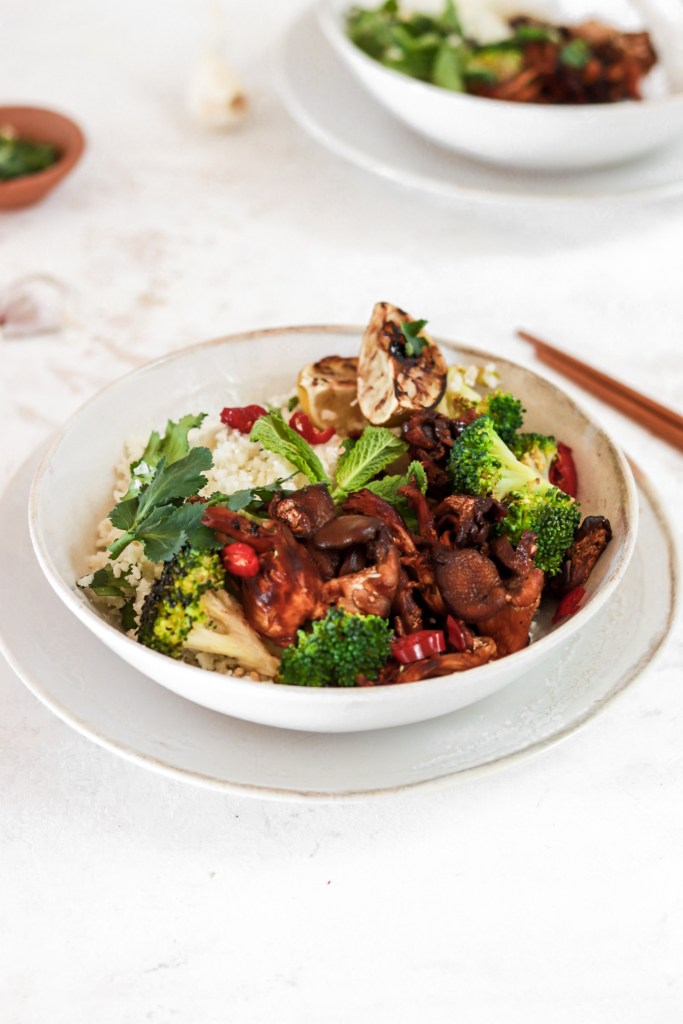 Spicy Oyster Mushroom Bowl (Vegan, Gluten & Grain Free, Low Carb) From Front