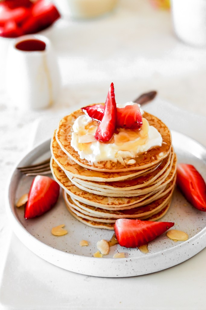 Almond Flour Pancakes (Gluten, Grain, Dairy & Sugar Free, Low Carb) On Plate Closer Up