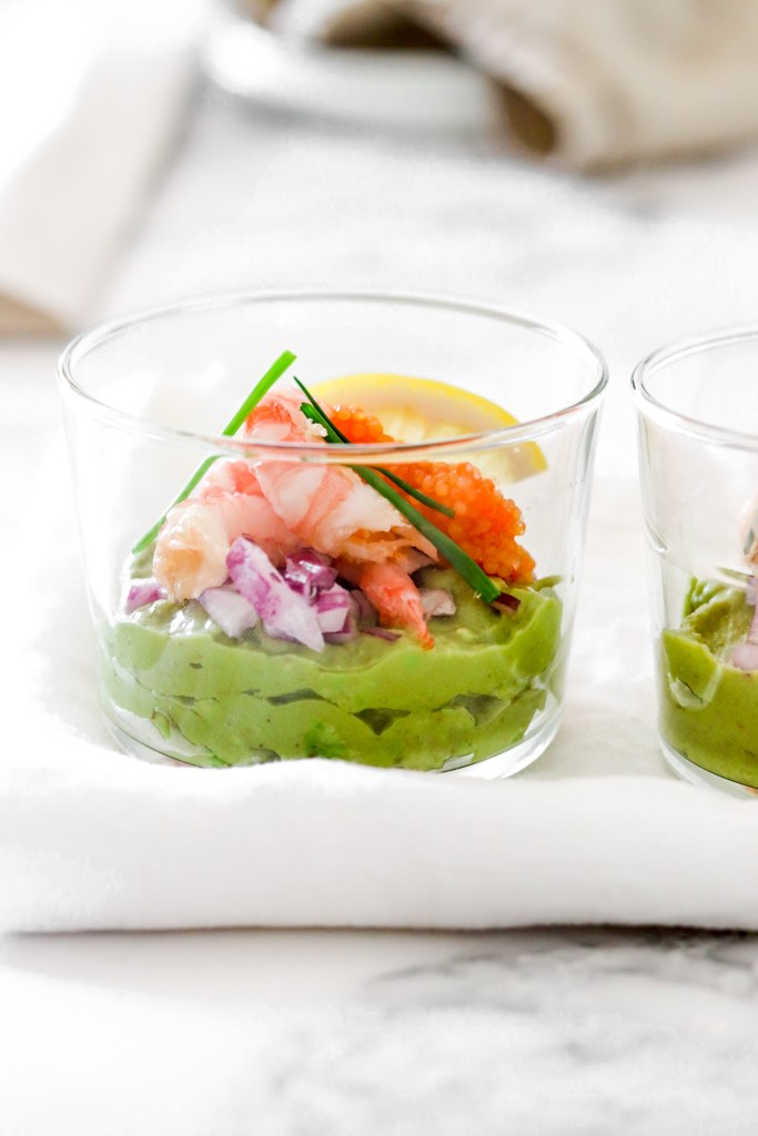 Avocado Mousse with Shrimps & Fish Roe (Low Carb) In Glass Close Up