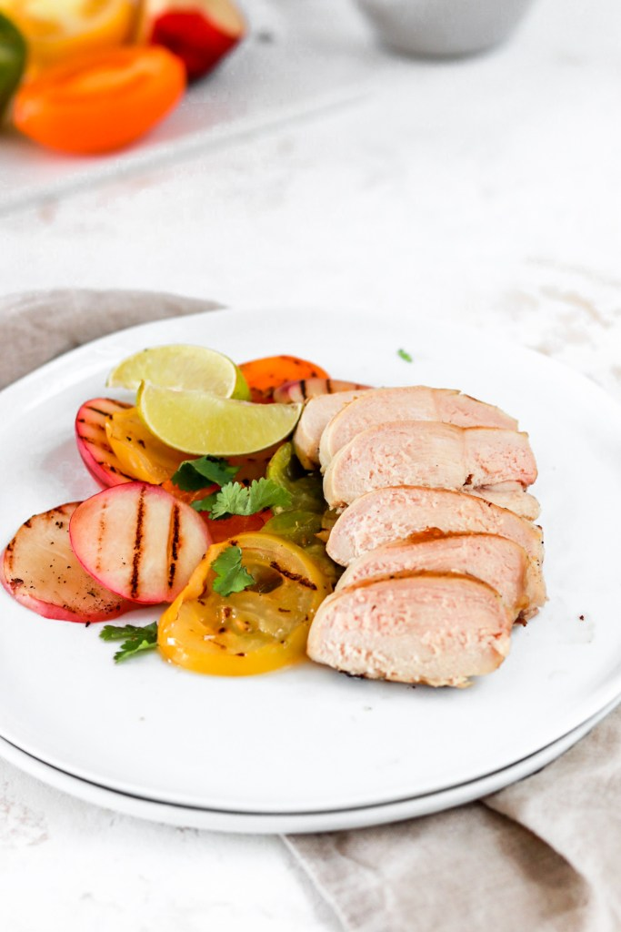 Chicken with Grilled Heirloom Tomatoes & Peaches (Gluten, Dairy, Grain Free & Low Carb) From Front