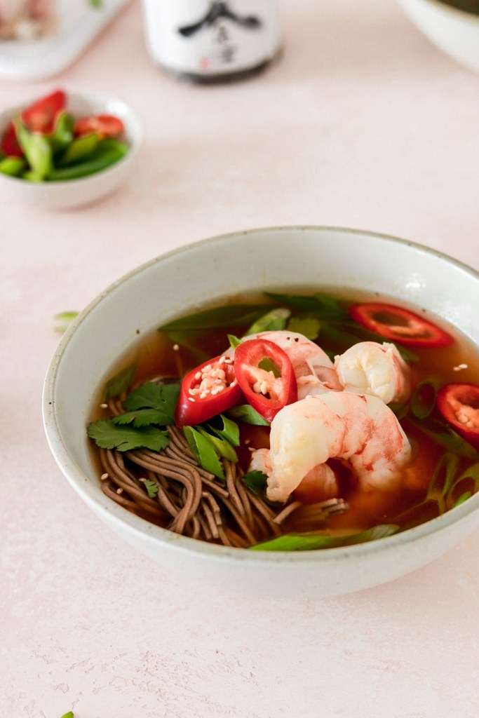 Japanese Ginger & Lemongrass Soup with Soba Noodles (Gluten & Dairy Free) From Front Close Up