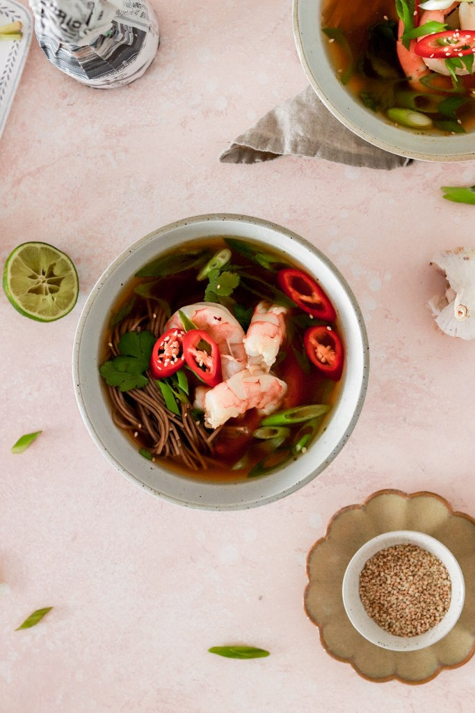 Japanese Ginger & Lemongrass Soup with Soba Noodles (Gluten & Dairy Free) From Above in Bowls