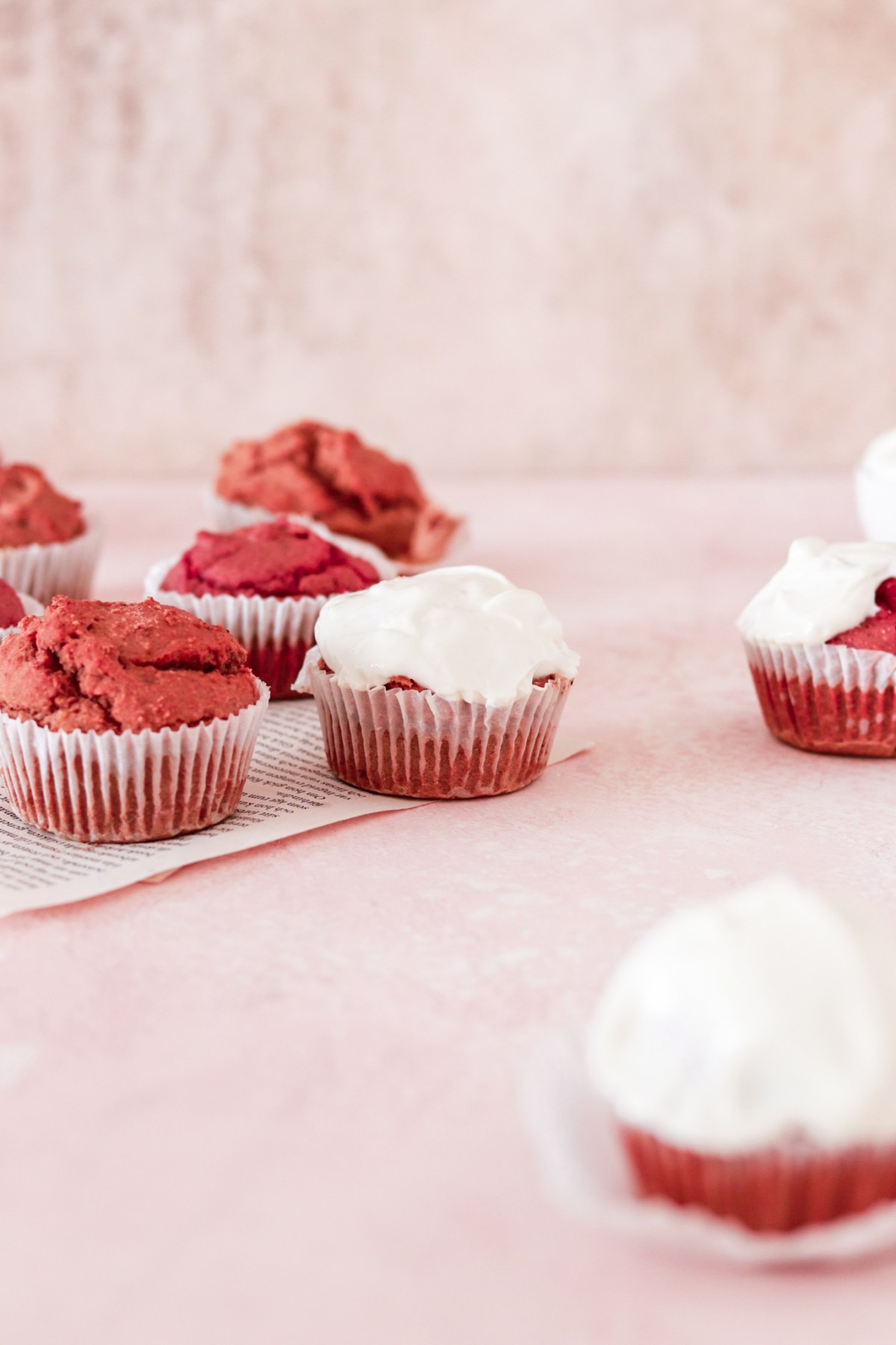 Red Velvet Cupcakes with Cream Cheese Frosting (Vegan, Gluten & Sugar Free) From Front