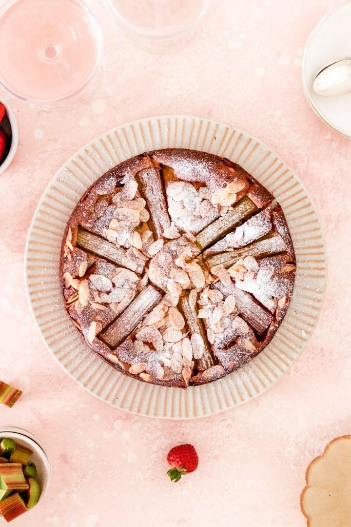 Rhubarb, Strawberry & Vanilla Custard Cake (Gluten & Sugar Free) From Above on plate