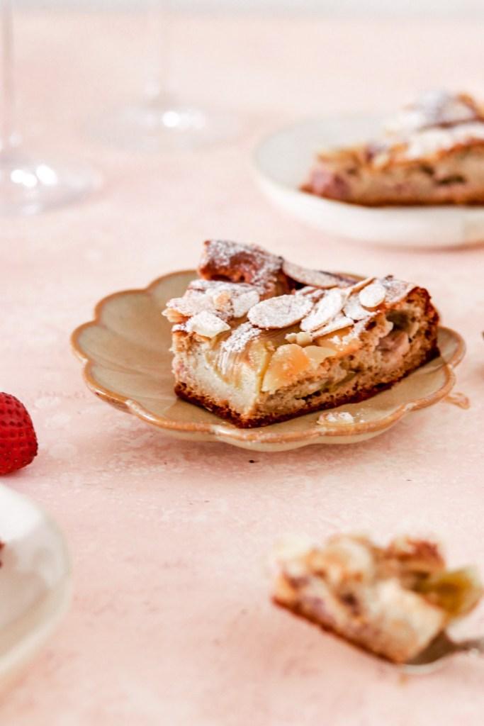 Rhubarb, Strawberry & Vanilla Custard Cake (Gluten & Sugar Free) Cake Piece on Plate