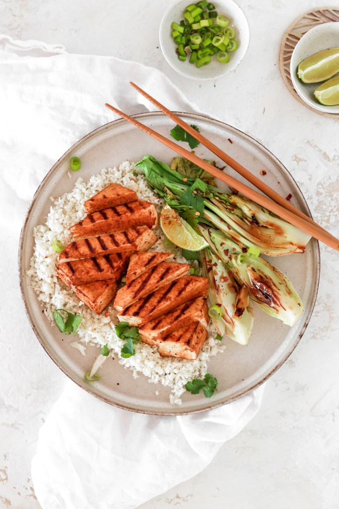 Asian Style Tofu Steak (Vegan & Gluten Free) On Plate From Above