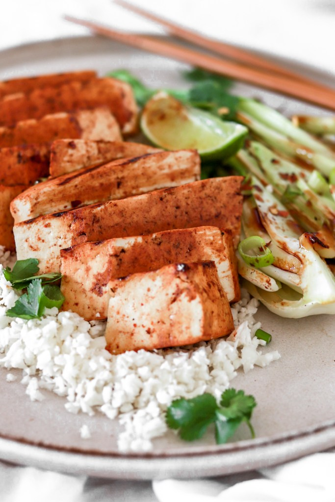 Asian Style Tofu Steak (Vegan & Gluten Free) From Front On Plate