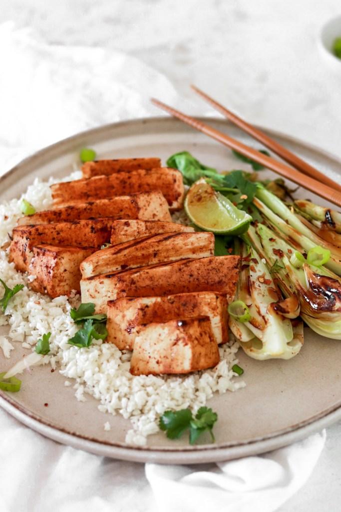 Asian Style Tofu Steak (Vegan & Gluten Free) On Plate