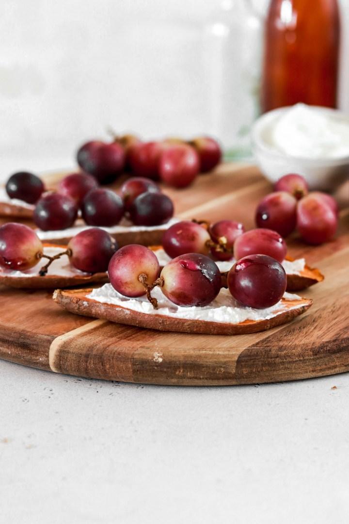 Sweet Potato Toast with Ricotta & Baked Grapes (Gluten & Grain Free)