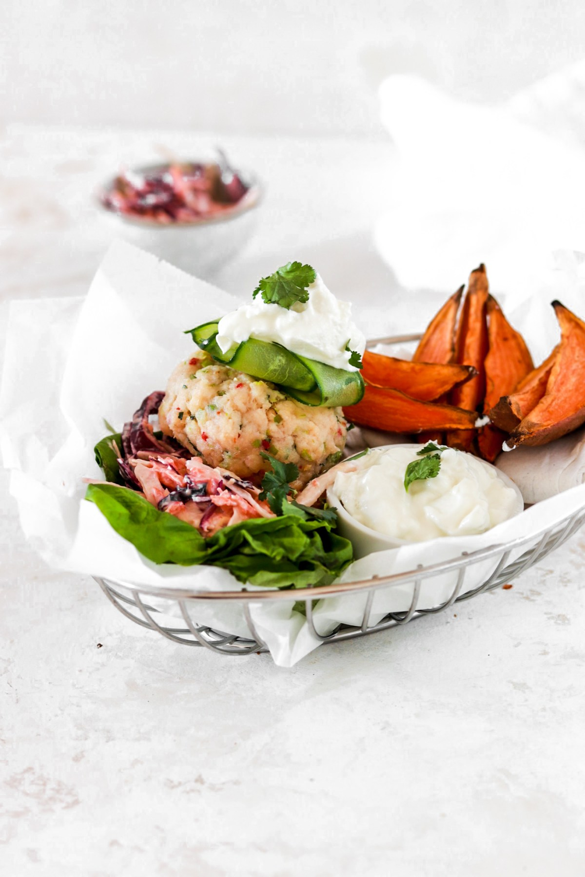 Asian Inspired Fish Burger (Gluten & Grain Free) From Front