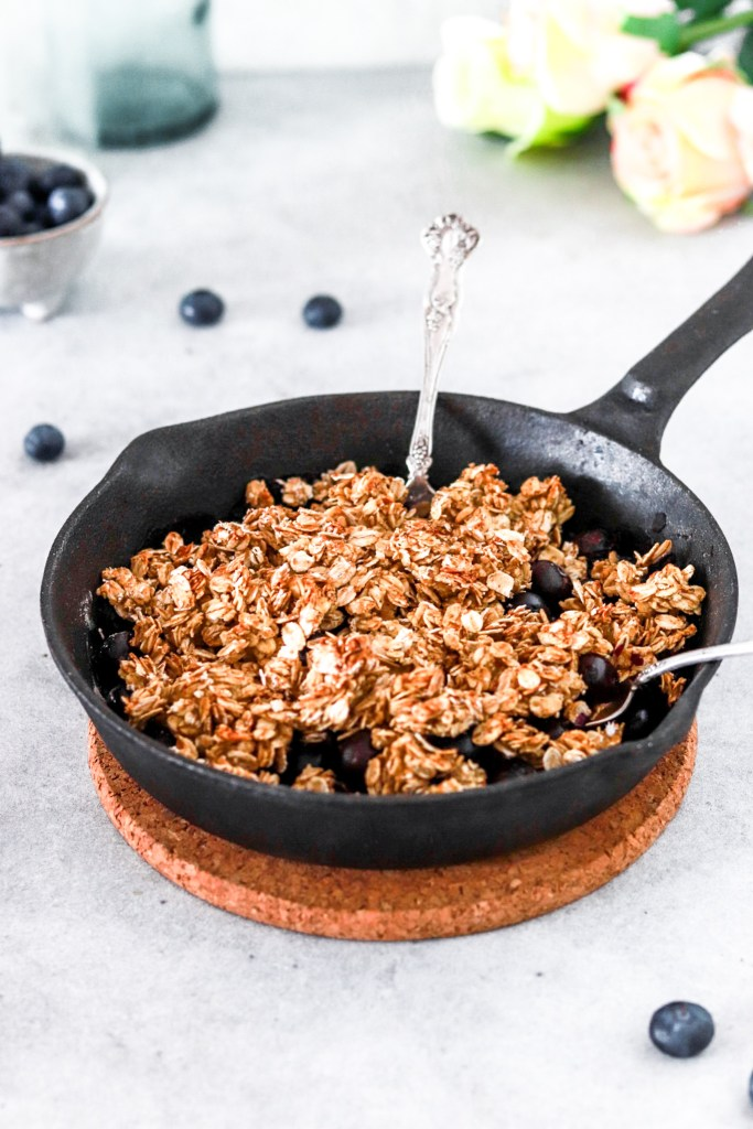 Blueberry Skillet Crumble Pie (Gluten, Sugar, Dairy & Oil Free) From Front with Spoons