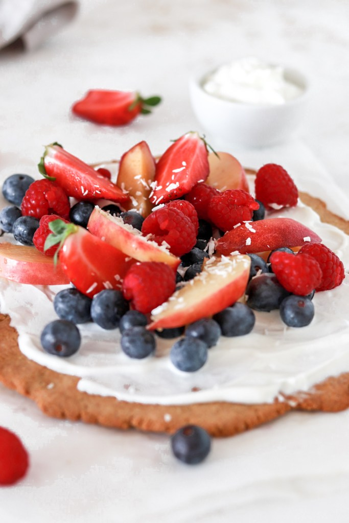 Dessert Pizza with Berries (Gluten & Sugar Free) From Front