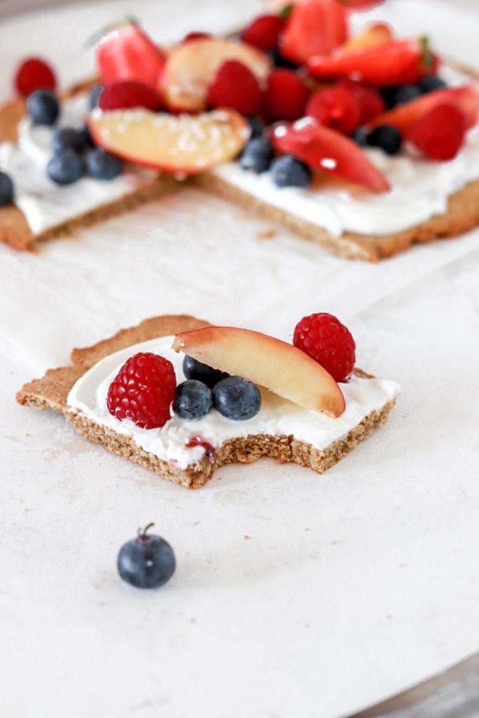 Dessert Pizza with Berries (Gluten & Sugar Free) Piece From Front