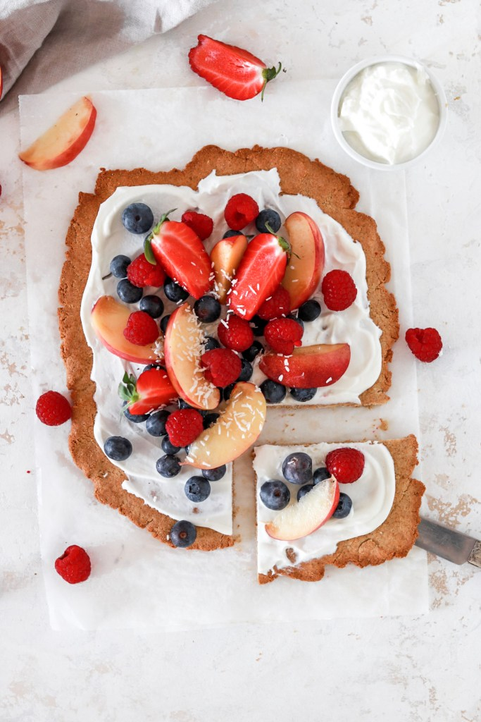 Dessert Pizza with Berries (Gluten & Sugar Free) From Above