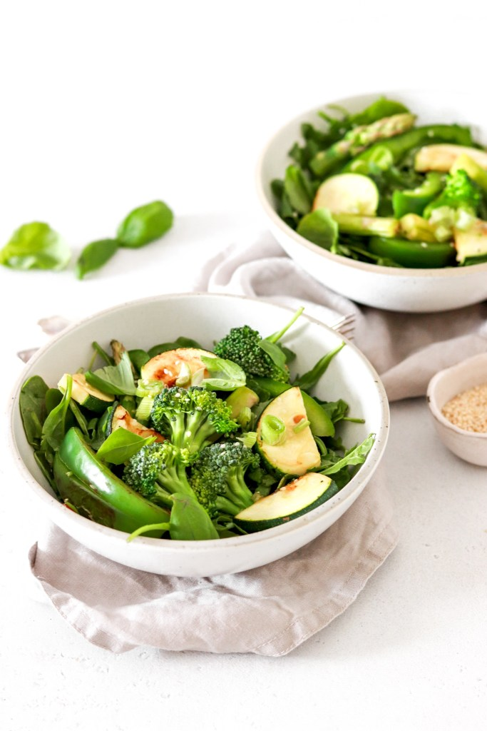 Green Goddess Salad (Vegan, Gluten, Grain Free & Low Carb) From Front In Bowls