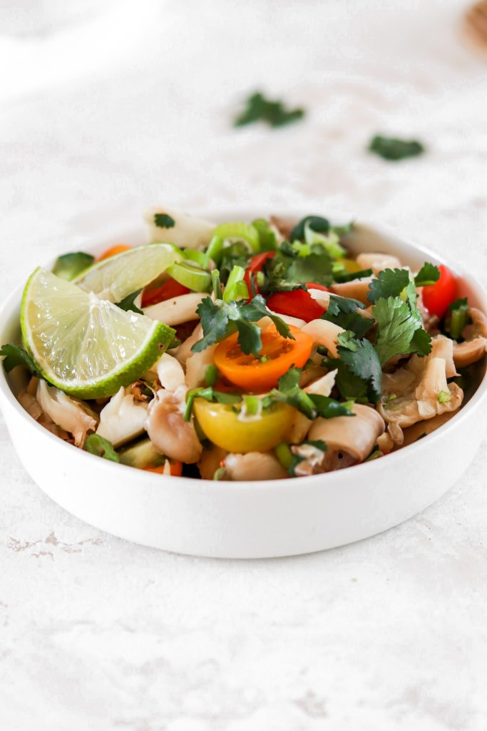 Oyster Mushroom Ceviche (Vegan, Gluten, Grain, Oil Free & Low Carb) Close Up From Front
